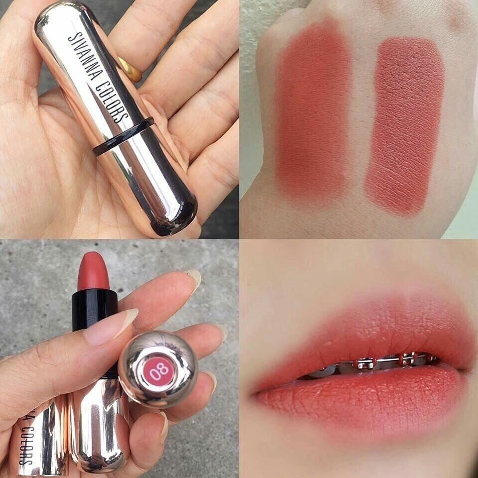 Sivanna lipstick hf688 sivanna MATTE STAY LIPSTICK KISS ME ลิปสติก ปลอกทอง