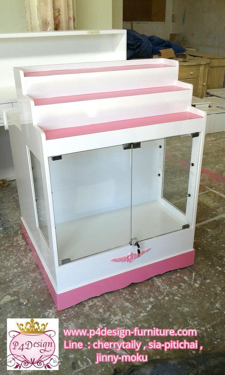 ตู้โชวกระจกใสเตี้ย+โต๊ะทำงาน วินเทจ สีขาว บ้าน ร้านค้า