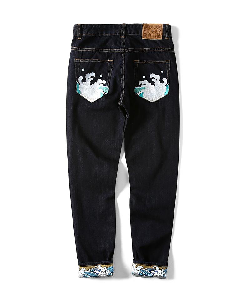 *Pre Order* กางเกงยีนส์ทรงกระบอกปักลาย/แฟชั่นชายญี่ปุน size 30-38