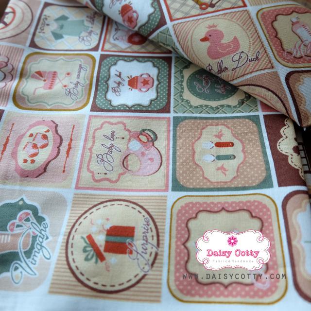 ผ้าคอตตอนเกาหลีแท้ 100% 1/4 เมตร (50x55 cm.) ลายตารางเป็ดคลาสสิค