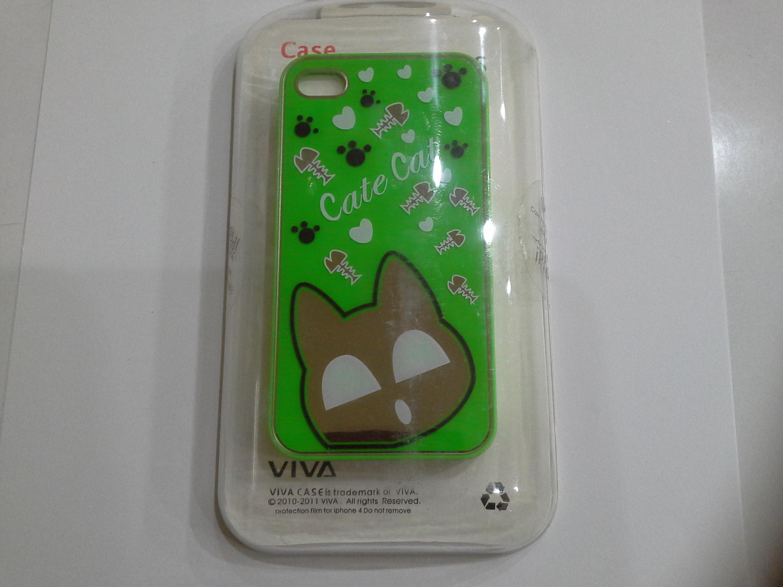 เคสไอโฟน 4/4s เคสไอโฟน Hard Case Cate Cat กรอบเขียว (หัวแมวเป็นกระจกค่ะ)