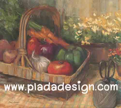 กระดาษสาพิมพ์ลาย สำหรับทำงาน เดคูพาจ Decoupage แนวภาำพ บ้านและสวน ตระกร้าใส่ผัก มะเขือเทศ แครอท พริกหวาน กระเทียม เป็นภาพวาด (ปลาดาวดีไซน์)