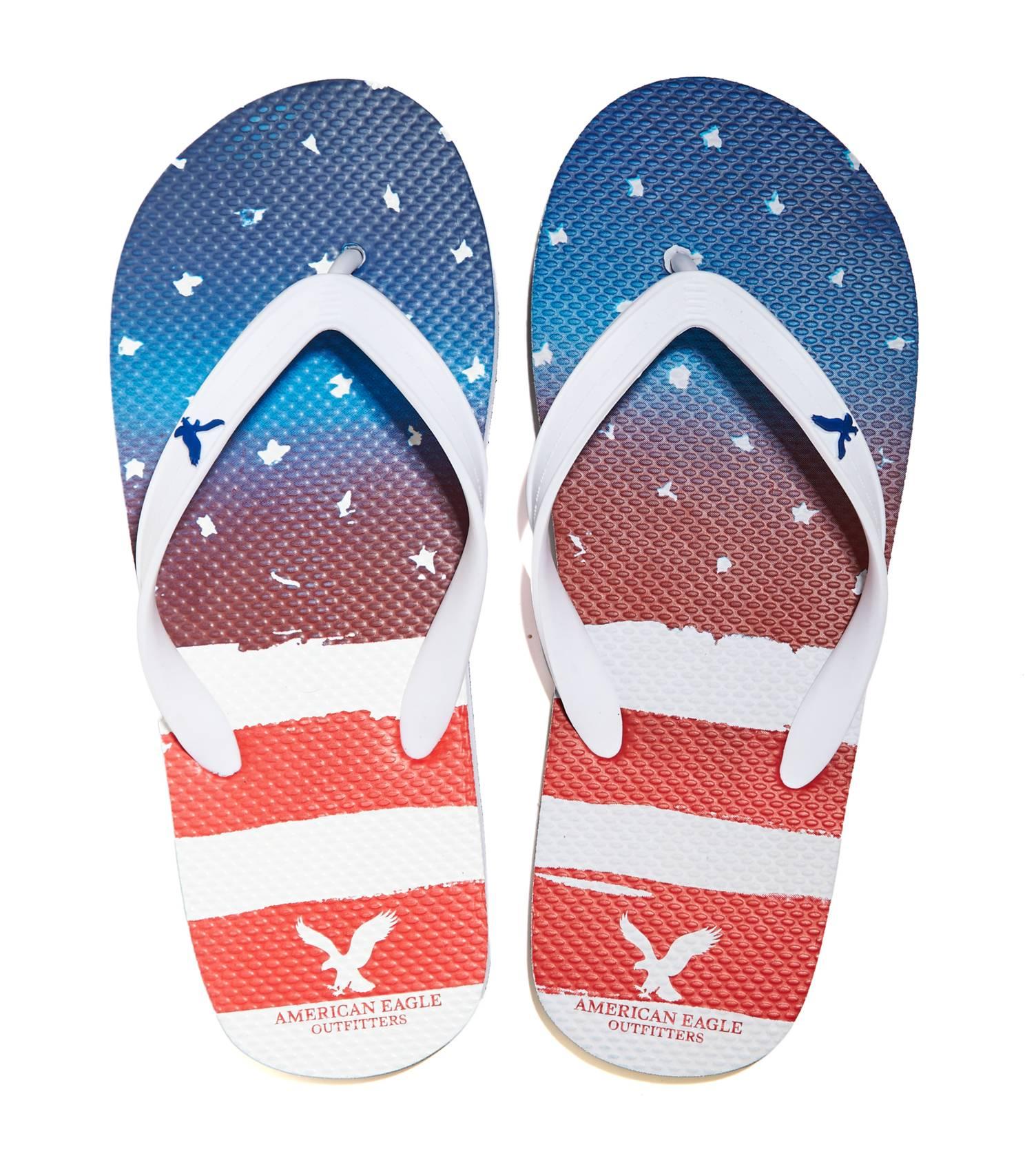 รองเท้าแตะผู้ชาย American Eagle รุ่น FACTORY AMERICANA PRINTED FLIP FLOP สี RED