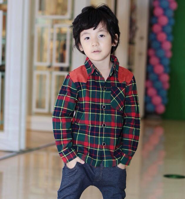 เสื้อเชิ้ตแขนยาวลายสก็อต เทห์ๆ สไตล์เกาหลี ผ้าเนื้อดี