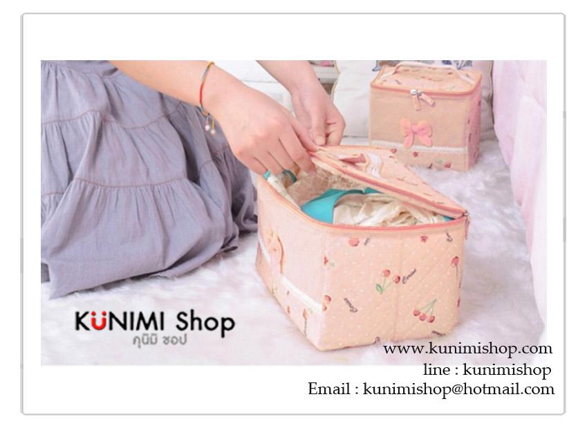 กระเป๋าจัดระเบียบ จัดเก็บสิ่งของ สีส้มอมชมพู ลายเชอร์รี่ สามารถใส่เสื้อผ้า เครื่องสำอางค์ ชุดชั้นใน ของใช้ต่างๆ ซิบเปิด-ปิด มีหูหิ้ว