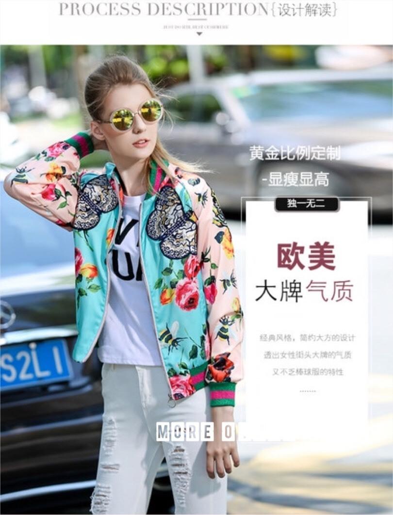 เสื้อเกาหลี พร้อมส่ง Jacket Gucci ปักผีเสื้อ