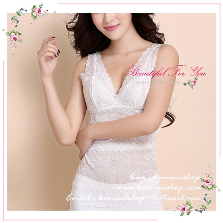 เสื้อซับในผ้าลายลูกไม้เต็มตัว (ไม่มีซับใน) ทรงสวย ใส่สบายคะ มี 2 สี : สีขาว , สีดำ -------------------------------------------------------------------- ขนาด : เสื้อยาว 59 cm. รอบอกไม่เกิน 35 นิ้ว / รอบเอวไม้เกิน 34 นิ้ว