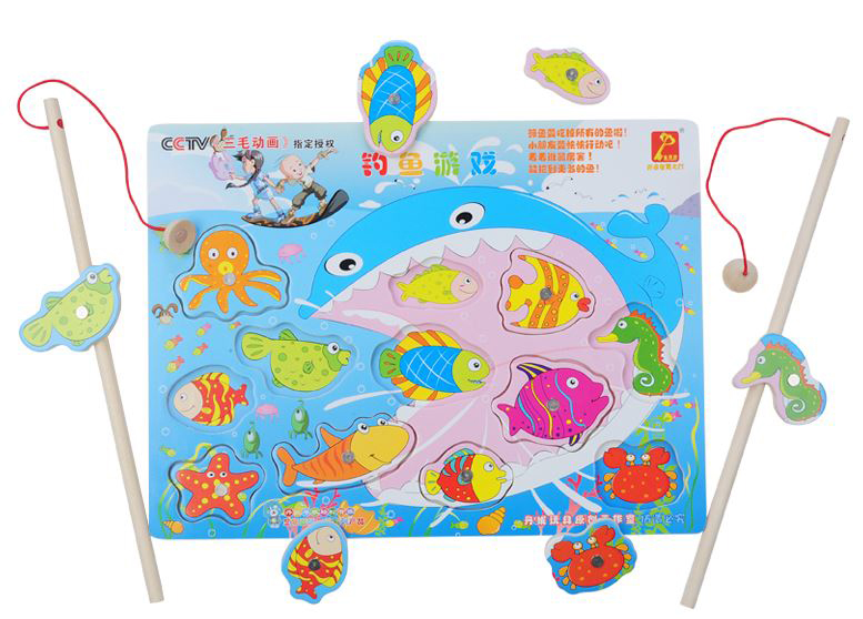 ของเล่นไม้ จิ๊กซอว์ไม้แม่เหล็กตกปลาและเพื่อนสัตว์ทะเล