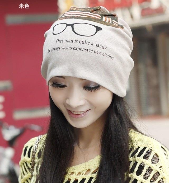 (Pre-order) หมวกคลุมผม หมวกไหมพรมผ้าฝ้าย แบบ 3 in 1 คลุมผมได้ พันคอได้ เป็นหมวกได้ พิมพ์ลายแว่นตา สีเทา