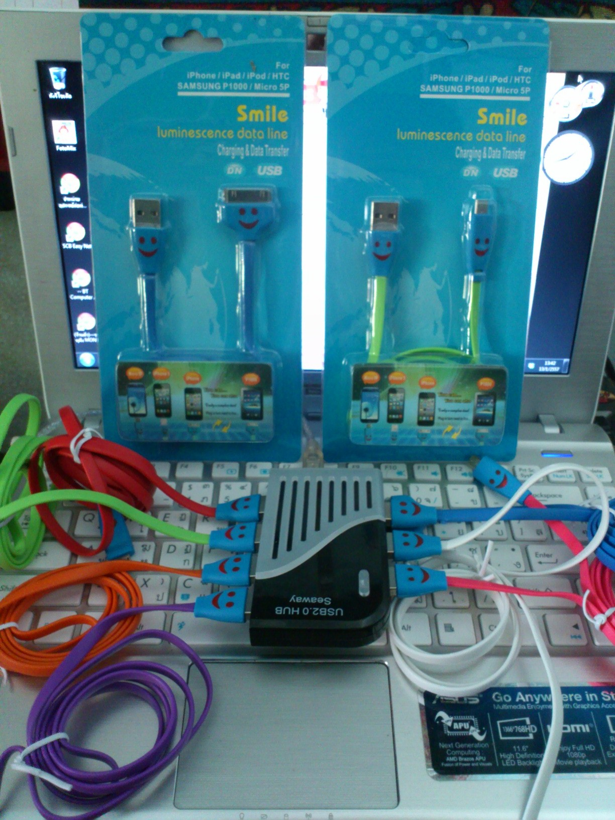 Cable Charger for iPhone4/4s (Smile) แท้ คละสี