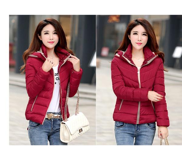 Pre-Order เสื้อโค้ทผู้หญิงแฟชั่น สีแดง มีฮู๊ด แขนยาว แฟชั่นเกาหลี