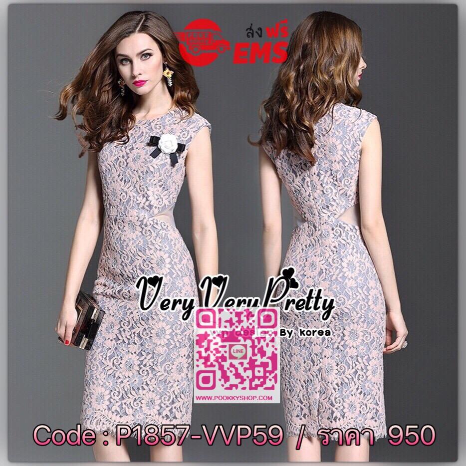 Luxurious Sleeveless Floral Lace Slim Dress เดรสผ้าลูกไม้ทั้งตัวสไตล์เกาหลีค่ะ เนื้อผ้าลูกไม้ถักทอปักเย็บได้สวยหรูเหมือนแบบค่ะ เนื้อผ้าลูกไม้สั่งทำลายและสีพิเศษลวดลายสีทูโทนงานสวยหรู ทรงแขนกุด เดรสทรงเข้ารูปช่วงเอวงานสวยมากค่ะ ช่วงเอวด้านข้างเปิดเอวเป็นซี