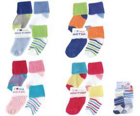 Luvable Friends ถุงเท้า เด็กแรกเกิด ขนาด NB-3 เดือน แพค 4 คู่