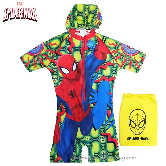 Size XS - ชุดว่ายน้ำเด็กผู้ชาย Spiderman สีเขียว บอดี้สูทเสื้อแขนสั้นกางเกงขาสั้น สกรีนลาย Spiderman มาพร้อมหมวกว่ายน้ำ สุดเท่ห์ ใส่สบาย ลิขสิทธิ์แท้ (สำหรับเด็กอายุ 6เดือน-2 ปี)
