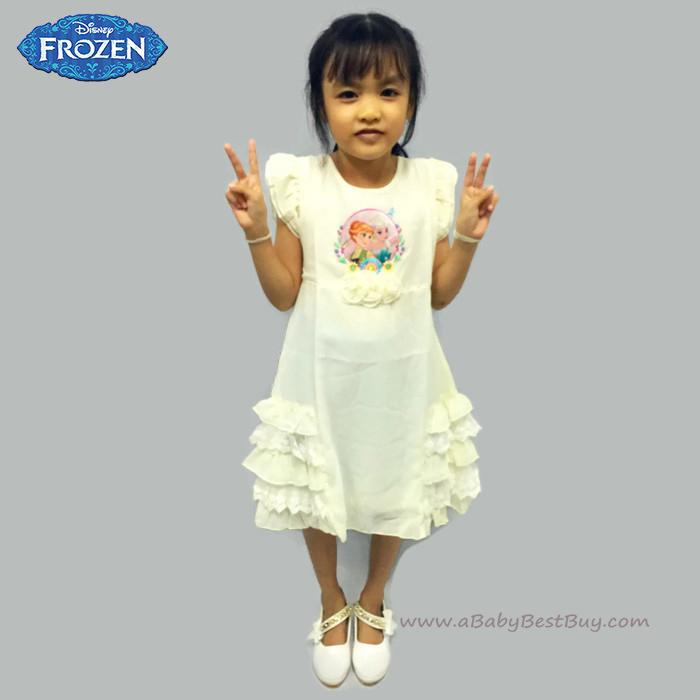 (4-6-8-10 ปี) ชุดเดรสราตรีสีครีม แขนกุด ลายเจ้าหญิงโฟรเซ่น ดิสนีย์แท้ ลิขสิทธิ์แท้ (สำหรับเด็ก4-6-8-10 ปี)
