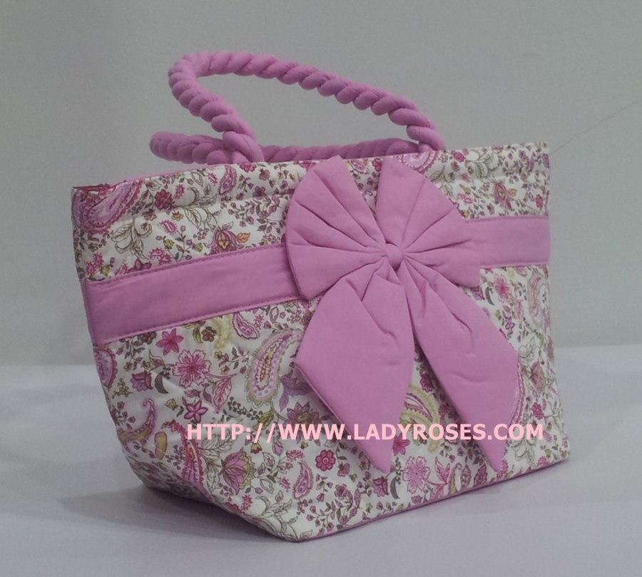 กระเป๋าถือ นารายา Size S ผ้าคอตตอน ลายหยดน้ำ สีชมพู ผูกโบว์ สีชมพู สายหิ้ว หูเกลียว (กระเป๋านารายา กระเป๋าผ้า NaRaYa กระเป๋าแฟชั่น)