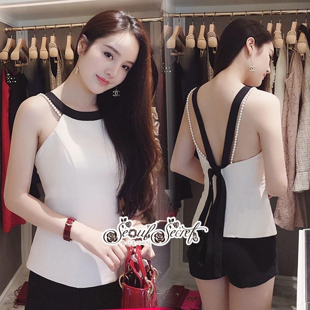 ชุดเซทแฟชั่น งานเซ็ท 2 ชิ้น ลุคสาวเกาหลี เสื้อทรงเข้ารูปเปิดหลังสวยเซ็กซี่มาก
