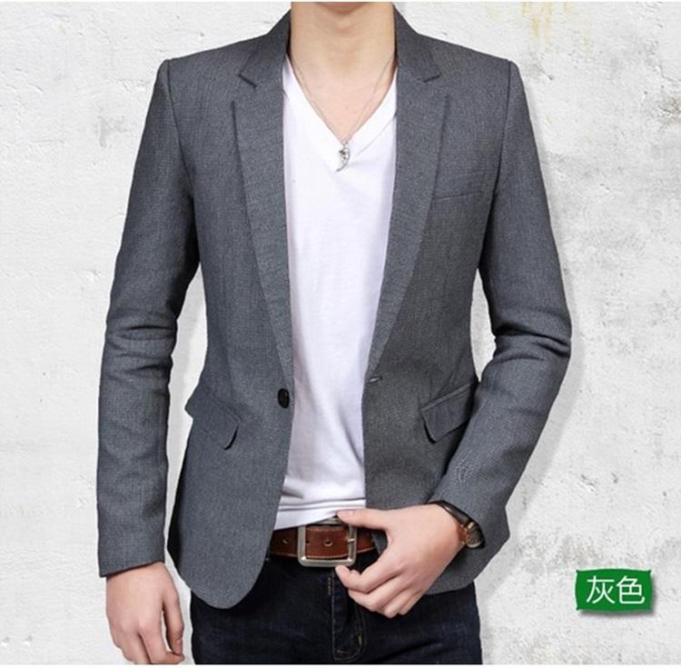 Pre-Order เสื้อสูท สูทลำลอง สูทเบลเซอร์ลำลอง แขนยาว ผ้าลินิน สูทแฟชั่นสไตล์เกาหลีมาใหม่ปี 2015 สีเทา