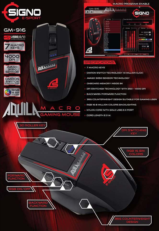 Signo E-Sport GM-916 Macro Gaming Mouse
