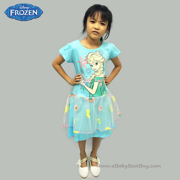 (4-6-8-10 ปี ) ชุดเดรสกระโปรงลายดอกไม้ แขนสั้น สีฟ้า ลายเจ้าหญิงเอลซ่า ดิสนีย์แท้ ลิขสิทธิ์แท้ (สำหรับเด็ก4-6-8-10 ปี)