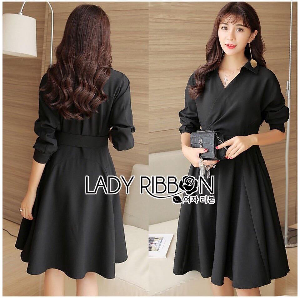 Lady Ribbon's Made Lady Hanna Minimal Chic Black Shirt Dress with Belt เชิ้ตเดรสแขนยาวสีดำพร้อมเข็มขัดสไตล์มินิมัลชิค ตัวนี้เป็นแบบเรียบๆ ใส่ได้ทุกวัน ทรงเป็นแบบเชิ้ตปาดข้าง กระโปรงบานนิดๆ ใส่พร้อมเข็มขัดสีดำเข้าเซ็ต ดูสมาร์ท และน่ารักดีค่ะ***งาน Pre