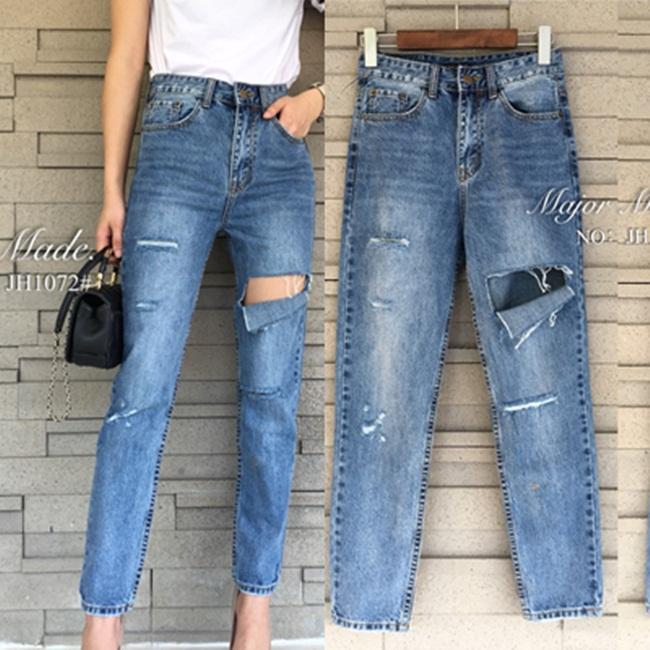 กางเกงแฟชั่น กางเกงยีนส์ทรงบอยเฟรน รุ่นใหม่ล่าสุด ทรงเอวสูง ฟอกสีสวย แต่งขาดเซอร์