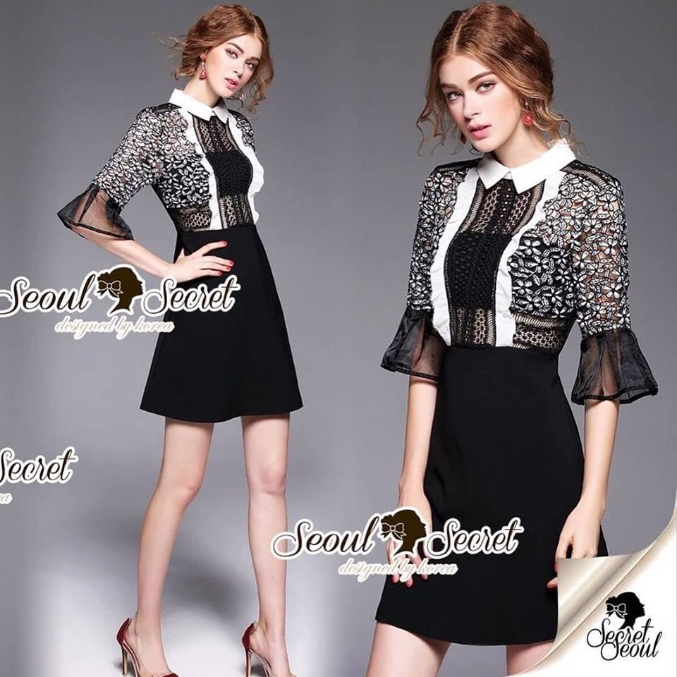 Seoul Secret Say's... Whity Colar Blacky Flora Lace Dress Material : งานเดรสลุคสาวไฮคลาส ดีเทลงานสวยด้วยเนื้อผ้าลูกไม้ทอด้ายสีทูโทน ชายแขนแต่งด้วยผ้าออแกนดี้ชายบนจับจีบระบาย เติมความสวยด้วยดีเทลงานเย็บแต่งด้วยผ้าลูกไม้ทอลายวงกลมแต่งที่ช่วงตัวเสื้อนะค