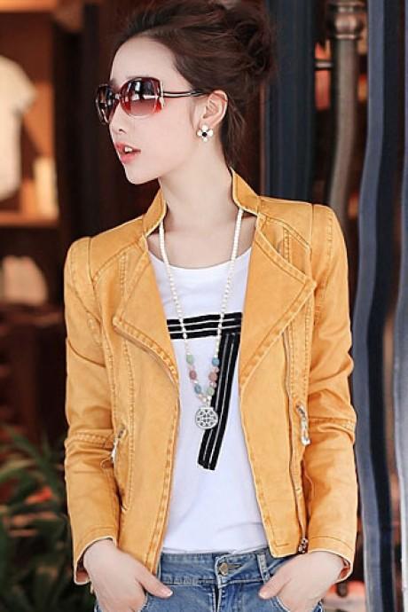 Pre-Order เสื้อแจ็คเก็ตหนังผู้หญิง สีเหลือง หนังด้าน แต่งซิปหน้าและกระเป๋า คอจีน แขนยาว แฟชั่นเสื้อกันหนาวสไตล์เกาหลี