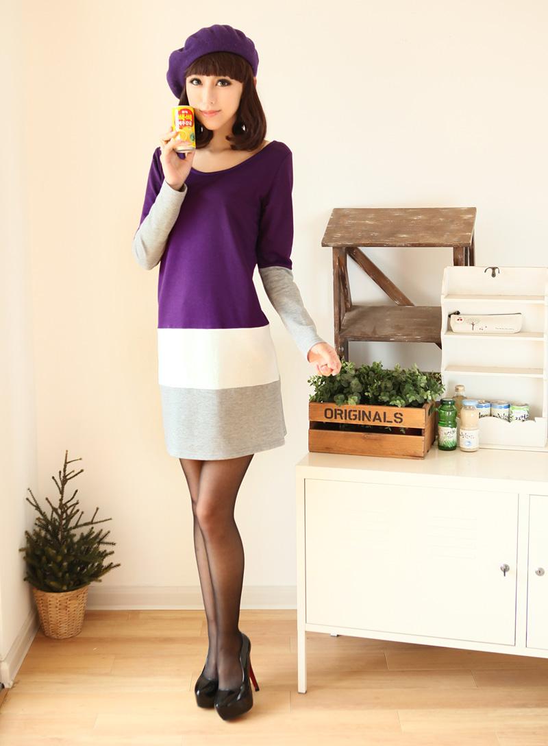++เสื้อผ้าไซส์ใหญ่++* Pre-Order* ชุดเดรสแขนยาว สีม่วง ผ้ายืดเนื้อนุ่ม ตัดต่อลายทางขาวเทา