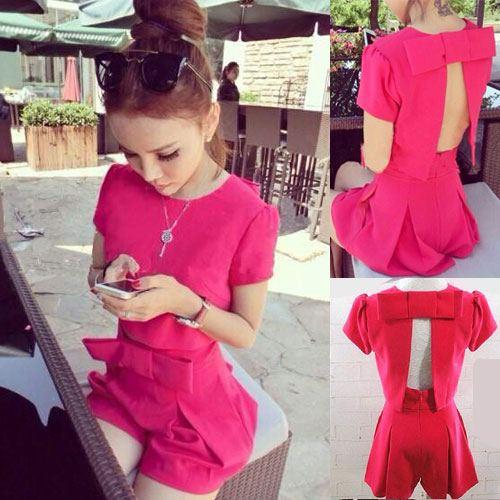 ++สินค้าพร้อมส่งค่ะ++ชุดแฟชั่นเซ็ทเกาหลี เสื้อคอกลม แขนสั้น เปิดหลัง แต่งโบว์ใหญ่+กางเกงขาสั้นจับจีบพรีทแต่งโบว์ใหญ่ที่เอว – สี Red Rose
