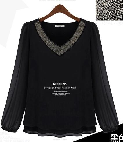 PreOrderไซส์ใหญ่ - เสื้อแฟชั่นเกาหลีไซส์ใหญ่ คนอ้วน คอวี ผ้าชีฟอง ปักหมุดตรงคอ สีดำ