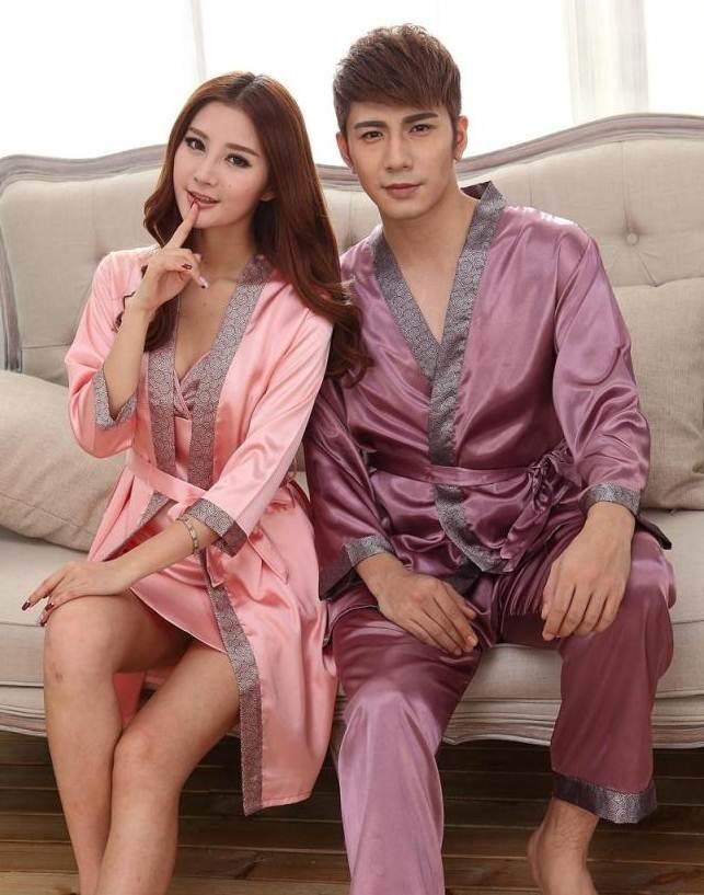 Pre Order ชุดนอนผ้าไหมแฟชั่นเกาหลี เสื้อคลุมแขนยาวผูกเอว+กางเกงขายาว สีตามรูป