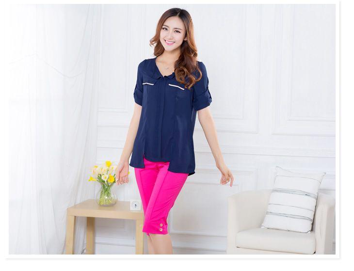 ++เสื้อผ้าไซส์ใหญ่++Qianlixiu* Pre-Order* เสื้อผ้าแฟชั่นไซส์ใหญ่แขนสี่ส่วนพับขึ้นได้แต่งกระเป๋าหลอกชายเสื้อยาวไม่เท่ากันค่ะ
