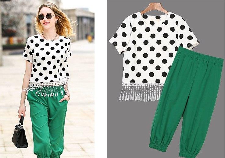 PreOrderไซส์ใหญ่ - ชุดเซตคู่เสื้อ กางเกงขาสั้นสามส่วนไซส์ใหญ่คนอ้วน ผ้าโพลิเอสเตอร์ลายจุดผ่าหลัง กางเกงสามส่วนปลายจั้มสีเขียว