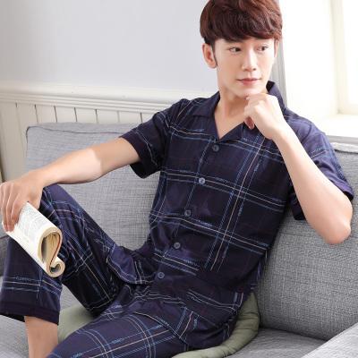 Pre Order ชุดนอนชายเทรนด์เกาหลี เสื้อคอปกแขนสั้นลายเส้น+กางเกงขายาว สีตามรูป