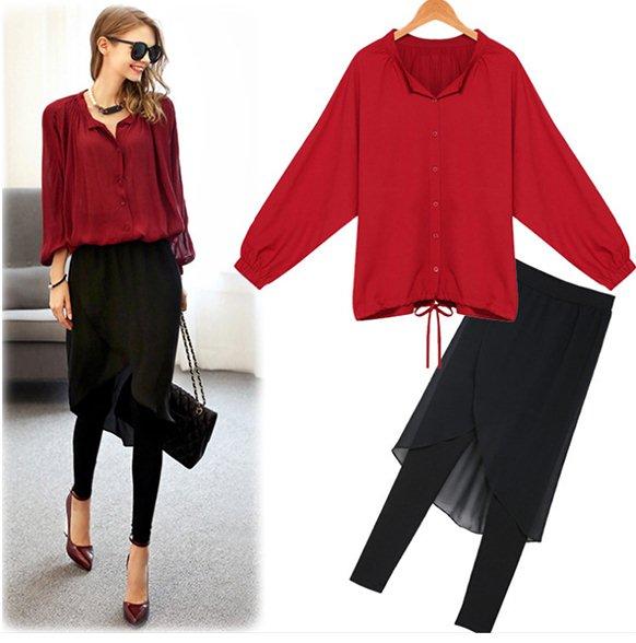 PreOrderคนอ้วน - เซตคู่แฟชั่น เสื้อ-กางเกง เสื้อเชิ้ตสีแดง กางเกงขายาวสีดำแบบทันสมัย ผ้าฝ้ายโพลิเอสเตอร์เนื้อดี