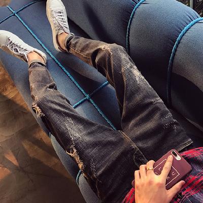 กางเกงยีนส์ขายาวเกาหลี แต่งลายเซอร์ๆ ทรงเข้ารูป