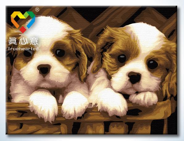 รหัส HB4050339 ภาพระบายสีตามตัวเลข Paint by Number แบบ Cute Friends ขนาด40x50cm/พร้อมส่ง