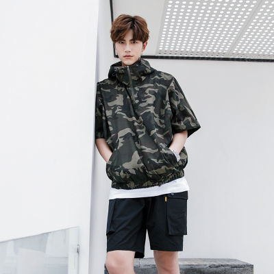 เสื้อฮู้ดแจ็คเก็ตแขนสั้นเกาหลี สีเขียวลายพรางทหาร