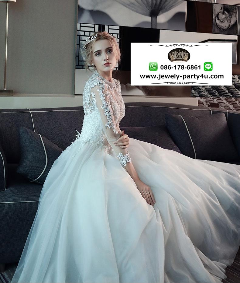 wedding ชุดแต่งงานเจ้าสาวแสนสวย/ชุดเพื่อนเจ้าสาว มี 2 แบบคือ แขนสั้นและแขนยาวค่ะ