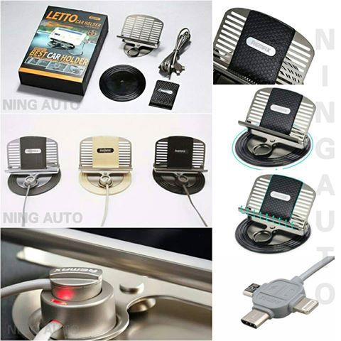 ที่วางโทรศัพท์ในรถยนต์ พร้อมที่ชาร์จแม่เหล็ก Remax LETTO Car Holder 3in1