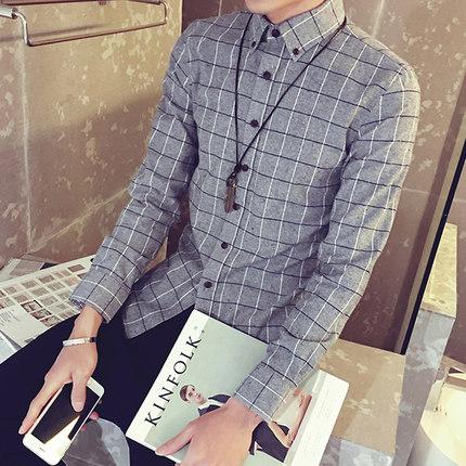 เสื้อเชิ้ตแขนยาวเกาหลี สีเทา แต่งพิมพ์ลายตารางสก็อต