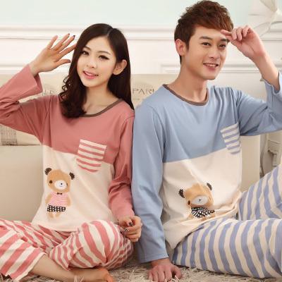 Pre Order ชุดนอนคู่รักแฟชั่น เสื้อคอกลมแขนยาว ลายน้องหมี+กางเกงขายาวลายขวาง