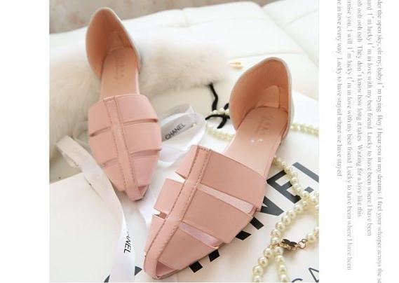 Pre Order - รองเท้าแฟชั่นเกาหลี หนัง PU สไตล์โรมัน ใส่สบาย ๆ ส้นเตี้ย สี : สีดำ / สีชมพู / สีขาว