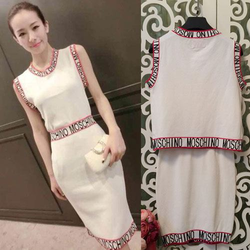 ++สินค้าพร้อมส่งค่ะ++ ชุดเซ็ทเกาหลี เสื้อคอกลม แขนเต่อ ดีไซด์เก๋ ผ้า knit ทอลาย Mochino รอบแขนและเอว – สีขาว