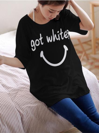 เสื้อยืดเกาหลี ตัวยาว ลาย Got White สีดำ