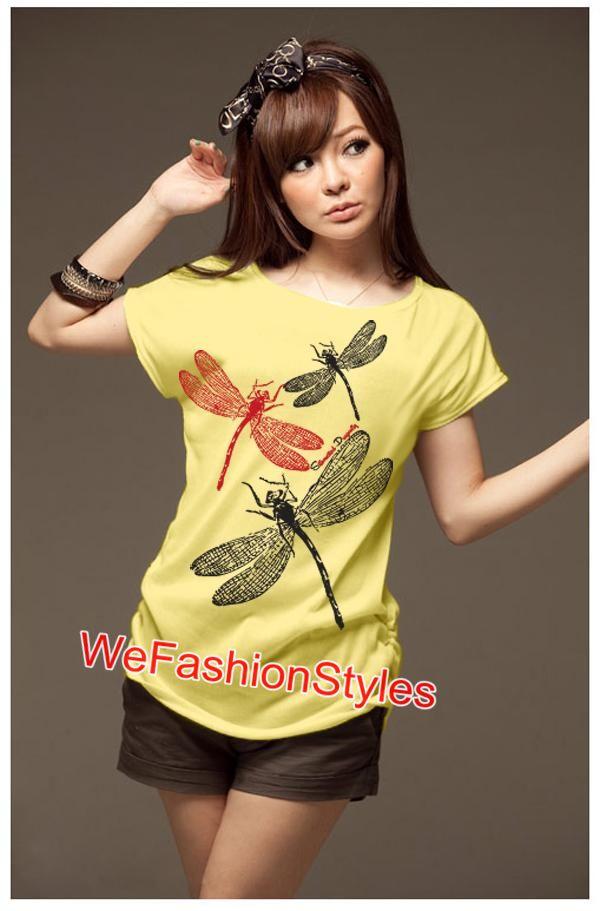 เสื้อยืดแฟชั่น ผ้านุ่ม ลาย Colorful DragonflyII สีเหลือง