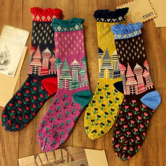 S249**พร้อมส่ง** (ปลีก+ส่ง) ถุงเท้าแฟชั่นเกาหลี ข้อยาว ขอบระบาย คละ 4 ลาย มี 12 คู่ต่อแพ็ค เนื้อดี งานนำเข้า(Made in China)