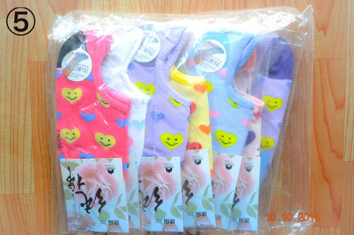 S304-5**พร้อมส่ง**(ปลีก+ส่ง) ถุงเท้าข้อสั้น ใต้ตาตุ่ม มี 5 ลาย คละสี เนื้อดี งานนำเข้า(Made in China)