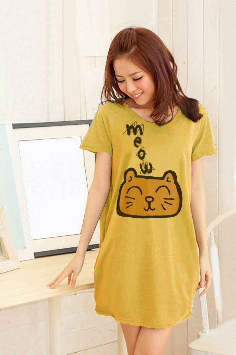 เสื้อยืดเกาหลี ตัวยาว / แซกสั้น ผ้านุ่ม งานคุณภาพ ลาย แมวเหมียว สีเหลือง